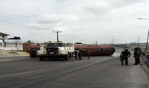 Miracle! As another fire explosion averted, after PMS tanker falls off at Otedola